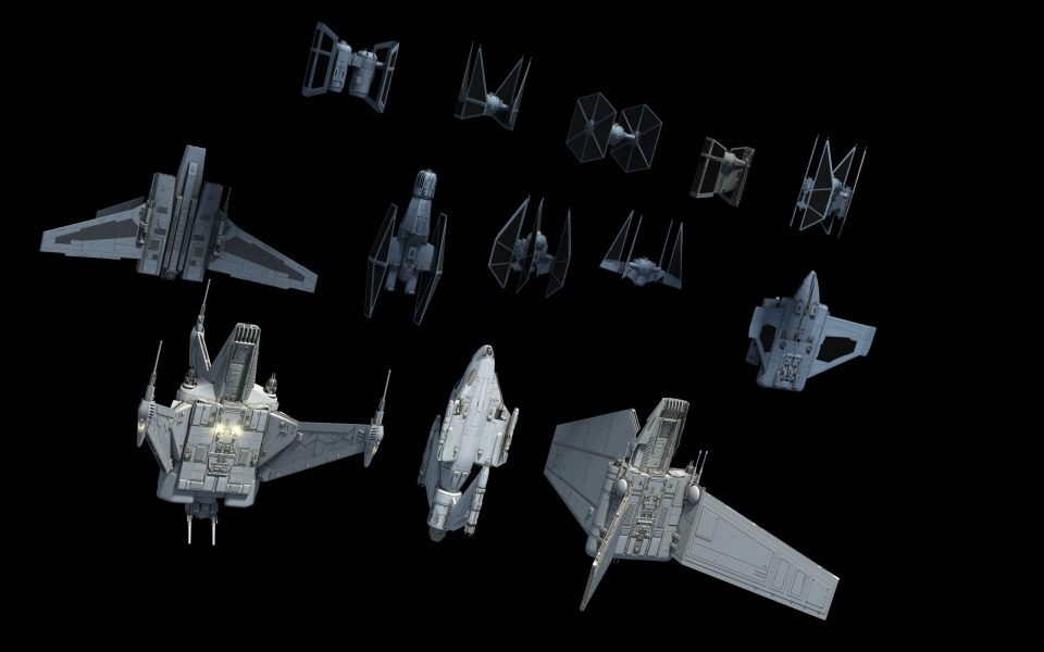 Starfighters to scale